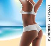 torso of luxurious woman in... | Shutterstock . vector #217843276