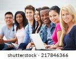 portrait of university students ...   Shutterstock . vector #217846366