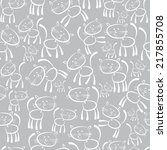 cats white seamless pattern | Shutterstock . vector #217855708