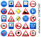 road signs set on a white... | Shutterstock . vector #217887283