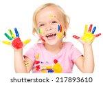 portrait of a cute little girl... | Shutterstock . vector #217893610