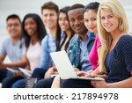 portrait of university students ... | Shutterstock . vector #217894978