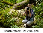 young woman tourist with... | Shutterstock . vector #217903528
