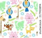 cartoon animal seamless pattern | Shutterstock .eps vector #217903894