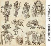 halloween  monsters  magic and... | Shutterstock . vector #217906246
