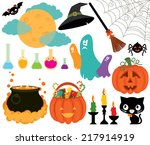 illustration set of halloween... | Shutterstock .eps vector #217914919