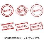 brazil stamps | Shutterstock .eps vector #217923496