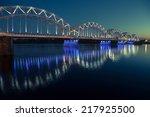 Railway Bridge At Night In Rig...