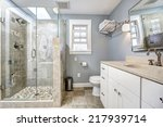 light blue modern bathroom... | Shutterstock . vector #217939714