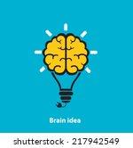 light bulb brain icon on a blue ...   Shutterstock .eps vector #217942549