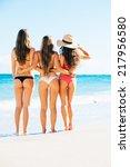 beautiful sexy girls in bikinis ... | Shutterstock . vector #217956580