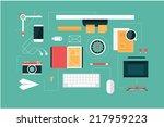designer desk header   Shutterstock .eps vector #217959223