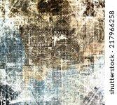 grunge abstract newspaper... | Shutterstock . vector #217966258