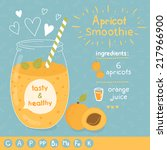 apricot smoothie recipe. with... | Shutterstock .eps vector #217966900
