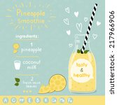 pineapple smoothie recipe. with ... | Shutterstock .eps vector #217966906
