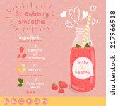 strawberry smoothie recipe....   Shutterstock .eps vector #217966918