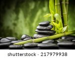 zen basalt stones and bamboo on ... | Shutterstock . vector #217979938