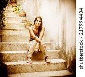 portrait of a fashion happy... | Shutterstock . vector #217994434