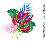 tropical flowers | Shutterstock . vector #217998286