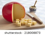 Edam Cheese And Cubes On A...