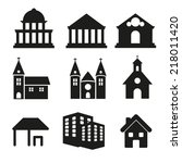building real state icons... | Shutterstock .eps vector #218011420