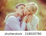 happy loving couple in the...   Shutterstock . vector #218020780