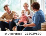 health visitor talking to... | Shutterstock . vector #218029630