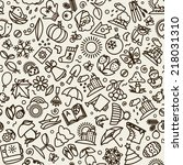seamless texture with icons  ... | Shutterstock .eps vector #218031310