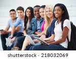 portrait of university students ...   Shutterstock . vector #218032069