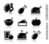 thanksgiving day food icons set ... | Shutterstock .eps vector #218032843