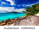 tropical beach. the seychelles | Shutterstock . vector #218034616