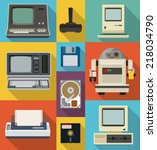 vector set of retro and vintage ... | Shutterstock .eps vector #218034790
