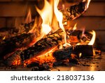 flame of fire from firewood in... | Shutterstock . vector #218037136