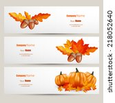 vector set of colorful autumn... | Shutterstock .eps vector #218052640