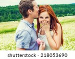 marriage proposal. portrait of... | Shutterstock . vector #218053690