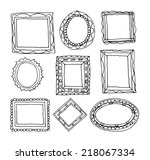 set picture frames  hand drawn ... | Shutterstock . vector #218067334
