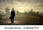 rear view of businessman... | Shutterstock . vector #218068753