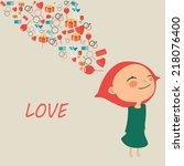 girl in love | Shutterstock . vector #218076400