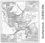 map of panama canal  vintage... | Shutterstock . vector #218081386