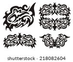 tribal dragon fish and fish... | Shutterstock .eps vector #218082604