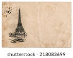 rare vintage postcard with... | Shutterstock . vector #218083699