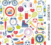 colorful healthy lifestyle... | Shutterstock . vector #218087314
