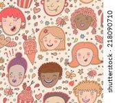 cute cartoon boys and girls... | Shutterstock .eps vector #218090710