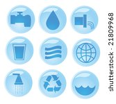 Vector set of nine water and environment related buttons - stock vector