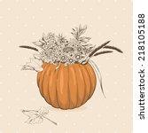 flowers in a pumpkin   Shutterstock .eps vector #218105188
