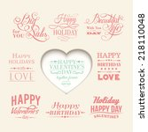 set of valentines day elements. ... | Shutterstock .eps vector #218110048