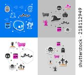 halloween sticker concept | Shutterstock . vector #218112949