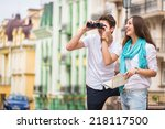 girl and guy on the streets of... | Shutterstock . vector #218117500