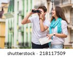 girl and guy on the streets of... | Shutterstock . vector #218117509