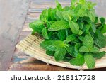 Fresh Mint  On Wooden Table...